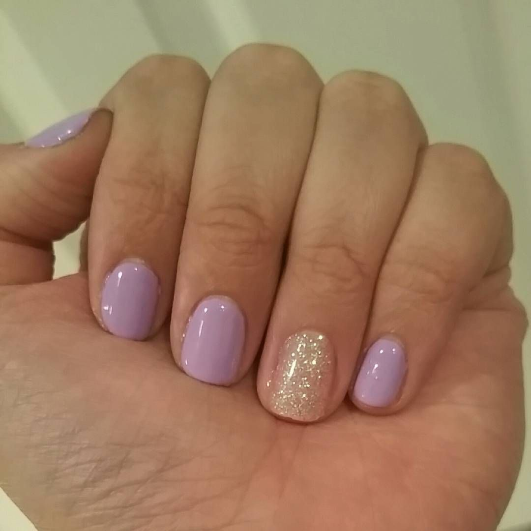 M O R G A N On Instagram This Mani Just Screams Spring Love My Trushine Gel Enamel Kit So So So Terribly Lilac Nails Short Gel Nails Purple Shellac Nails