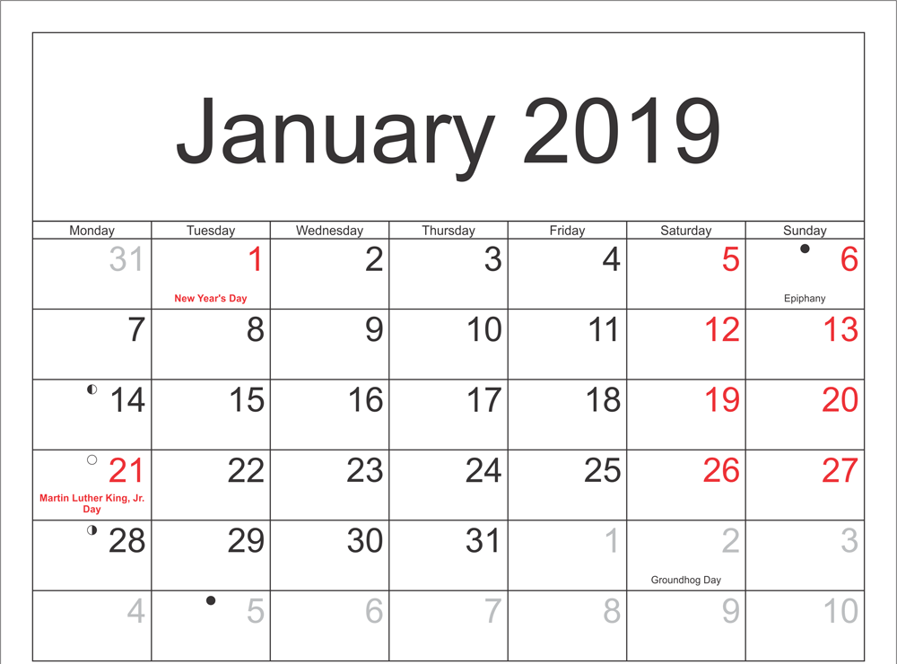 New Moon September 2019 January 2019 Printable Calendar | Free Printable Monthly Calendar