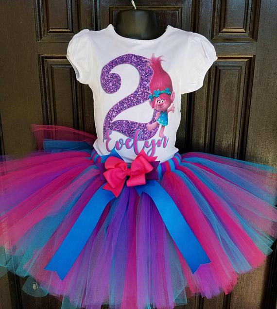 Trolls birthday girl Outfit First Birthday,Second Birthday,trolls top,trolls shirt,Cake Smash Trolls birthday set,Trolls PhotoProp