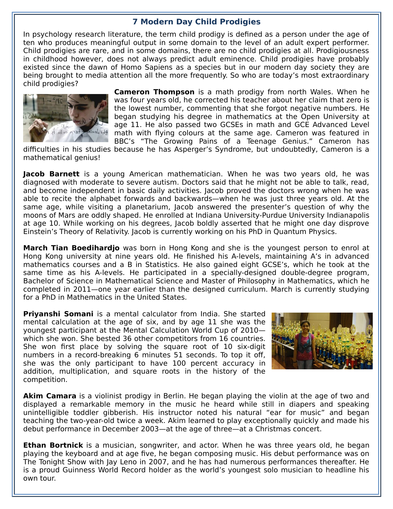 7 Modern Day Child Prodigies Reading Comprehension Worksheet Text Teaching Resources Comprehension Worksheets Reading Comprehension Reading Comprehension Worksheets [ 1651 x 1275 Pixel ]