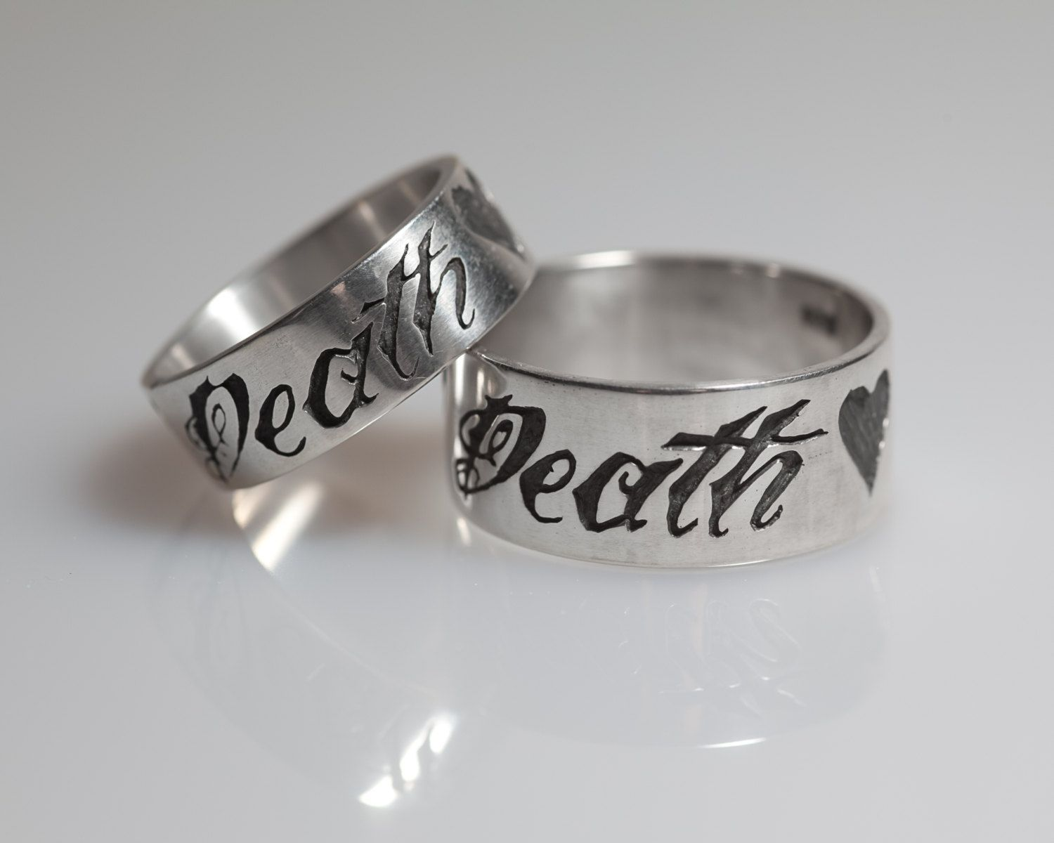 sterling till death his and hers ring set with anchor and heart his and hers wedding rings - Wedding Ring Set His And Hers