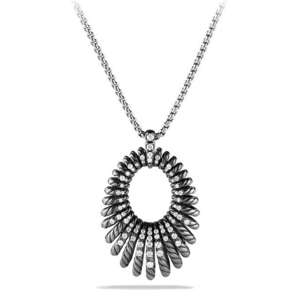 David Yurman Tempo Necklace With Diamonds (48 490 UAH) ❤ liked on Polyvore featuring jewelry, necklaces, silver, david yurman jewelry, diamond jewelry, david yurman jewellery, diamond necklace and david yurman