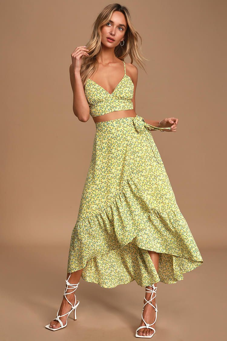 Believe In Me Yellow Floral Print Two Piece Midi Dress Two Piece Dress Casual Piece Dress Casual Dresses [ 1125 x 750 Pixel ]