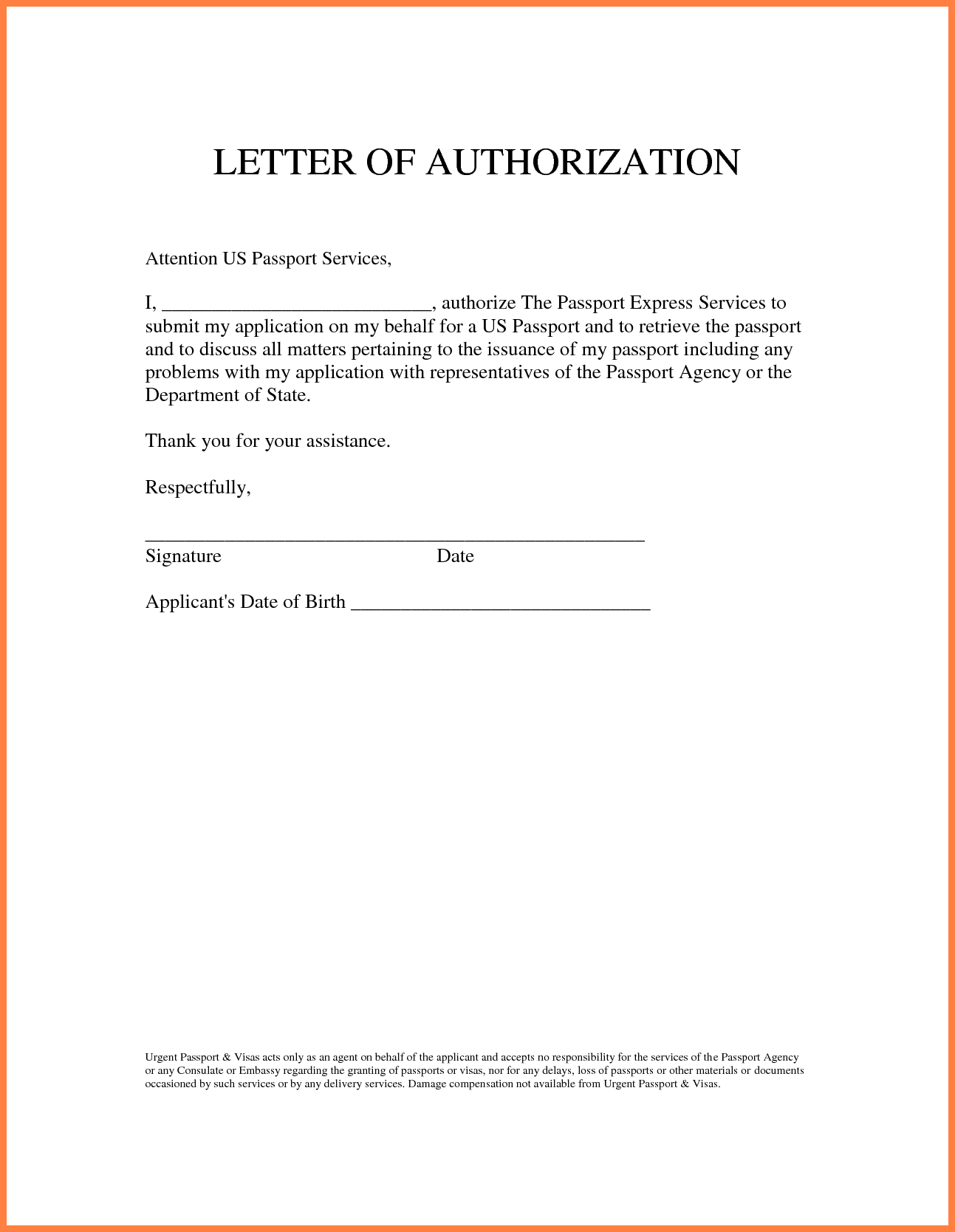 Sample authorization letter granting permissionthorization for Notarized letter of authorization template