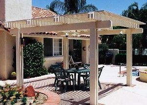 We sell aluminum awnings, patio covers, lattice, carports