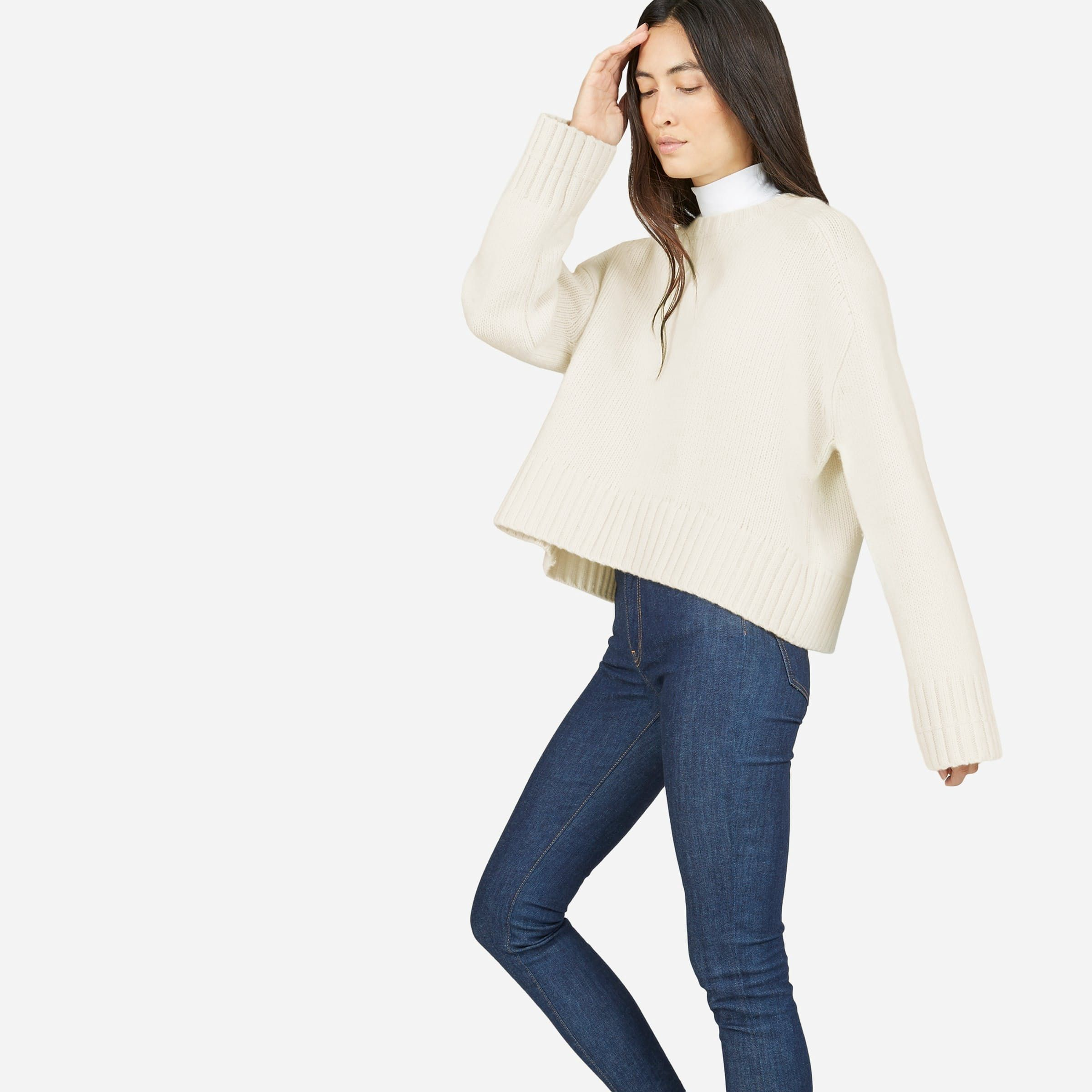 The Wool-Cashmere Square Crew - Ivory by Everlane $130
