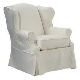 White Cotton Twill Slipcovers For My Wingback Chairs.