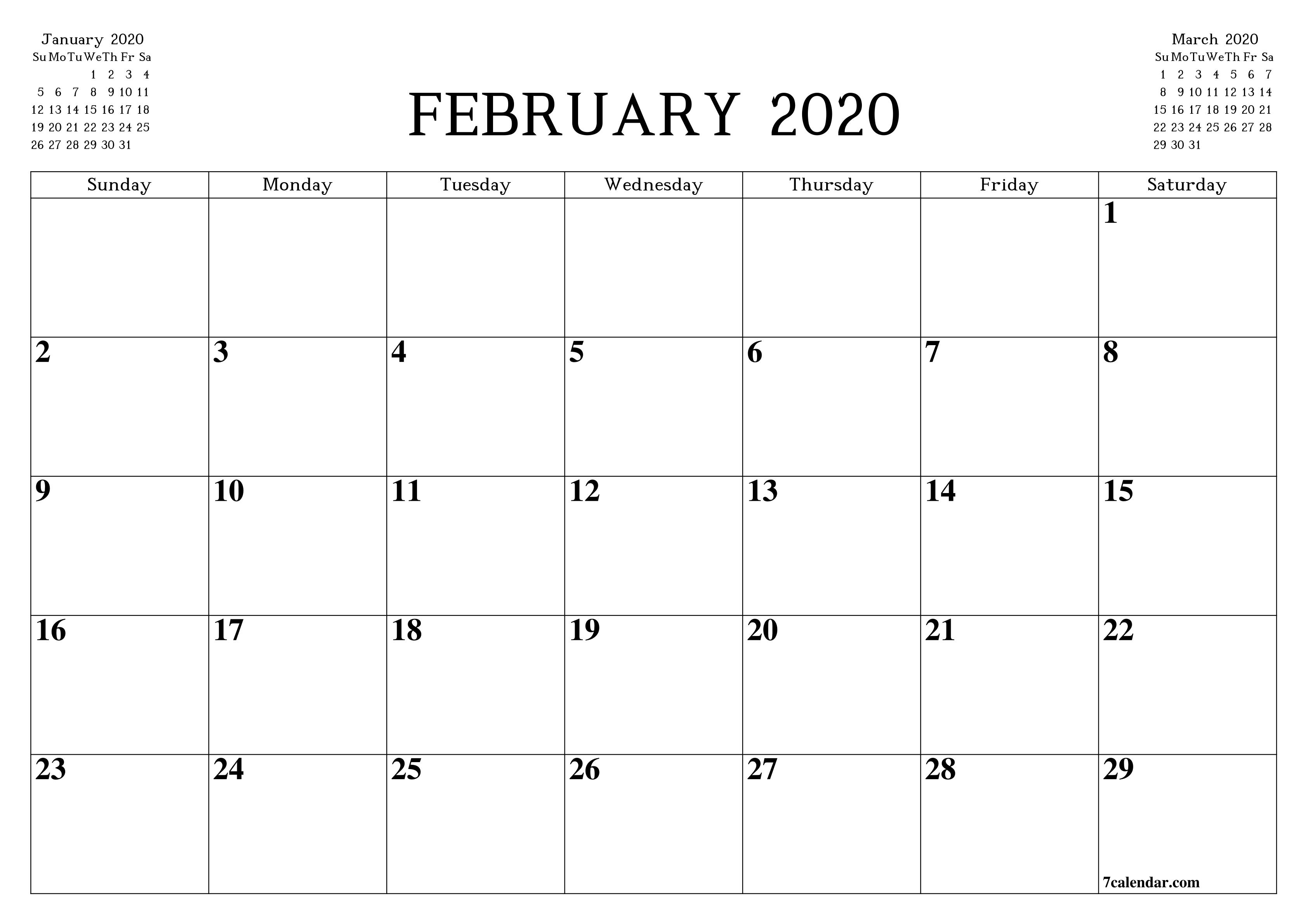 Printable Blank Calendar Planner A4 A5 And A3 Pdf And Png February 2020 7calendar Com Calendar Printables Print Calendar Calendar