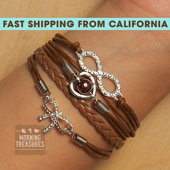 Bracelet Diamond Infinity Bracelet Heart with by MorningTreasures