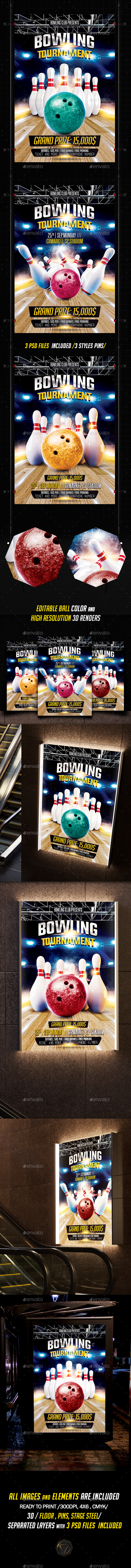 Bowling Flyer  Psd Template Bowling Party Sport Flyer Bowling