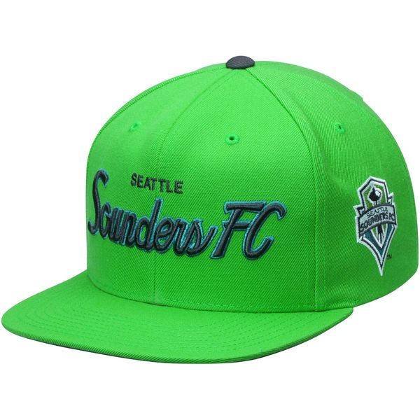 f5f19f714f7 Men s Seattle Sounders FC Mitchell   Ness Rave Green Special Script  Snapback Hat