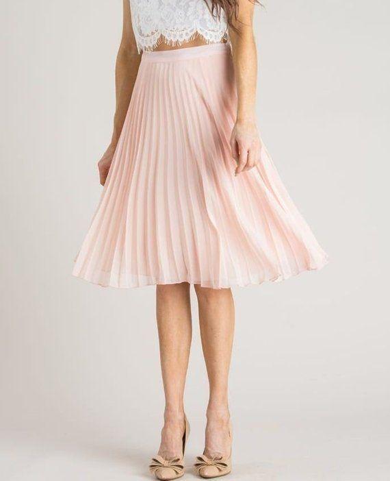 5556c7958 Blush Pink Pleated Skirt/Tulle Skirt/Tutu Skirt/Knee length Skirt in ...