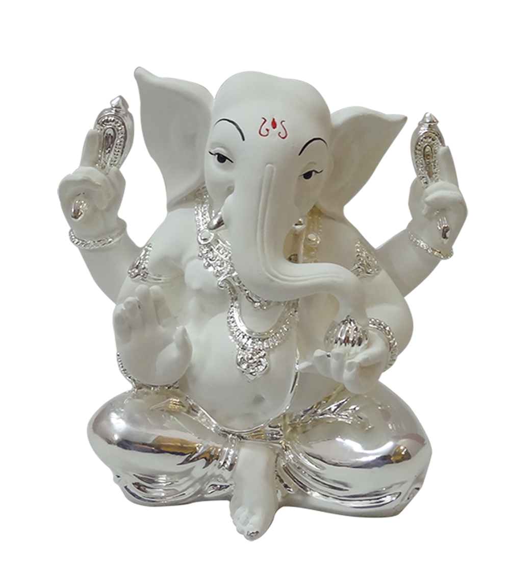 Silver Gifts For Indian Wedding: White Ganesha,Silver Plated,Online Gifts Shopping India
