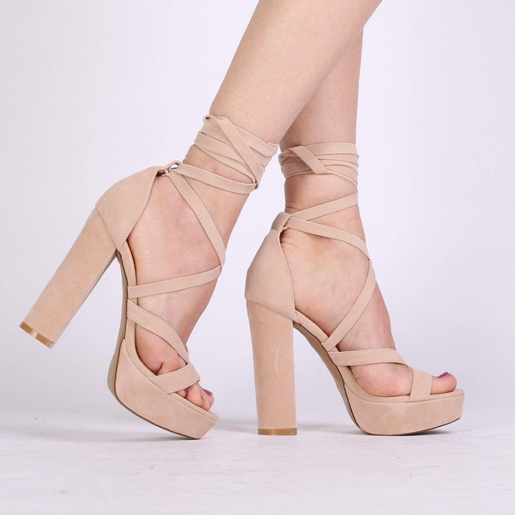 Stella Lace Up hæle i nøgne Faux Suede S H O E S Lace-4088