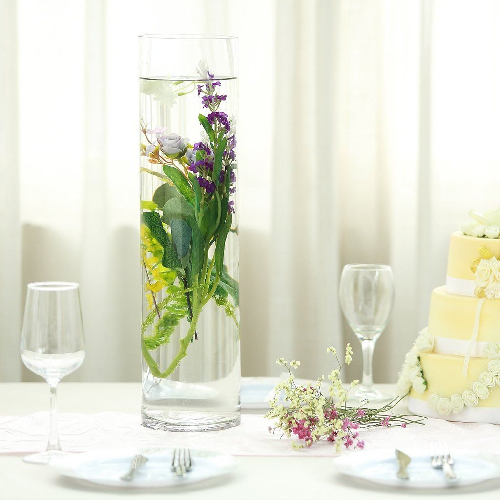 6 Pack 20 Heavy Duty Cylinder Glass Vase Wedding Table