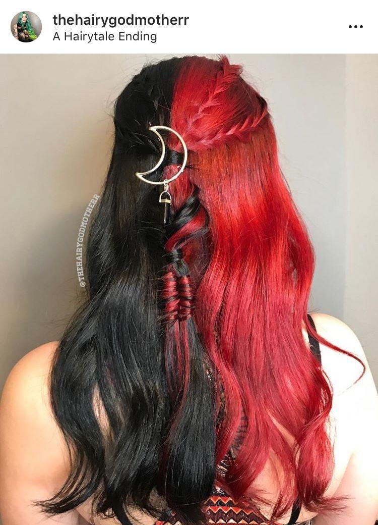 Half Black Half Red Hair With Braids Hair Color For Black Hair Split Dyed Hair Hair Color Auburn