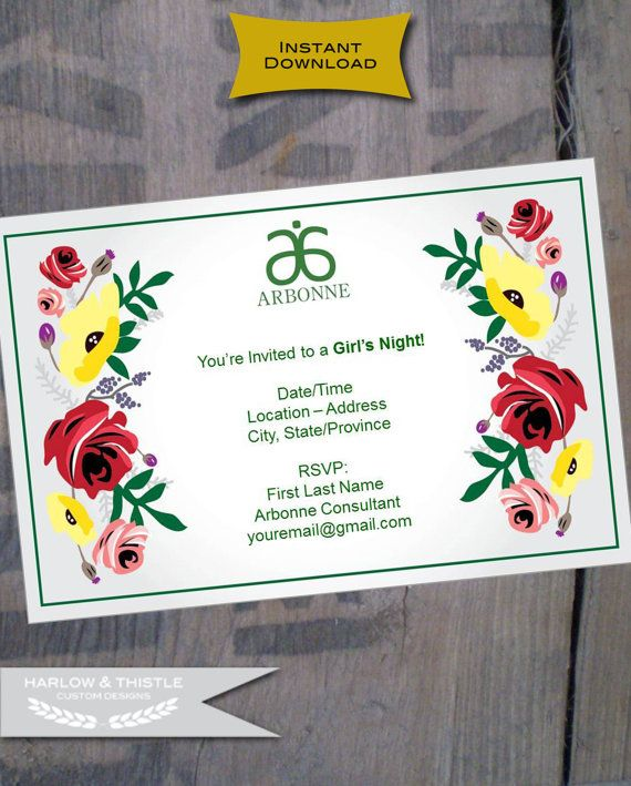 Instant Printable Arbonne Party By Harlowandthistle