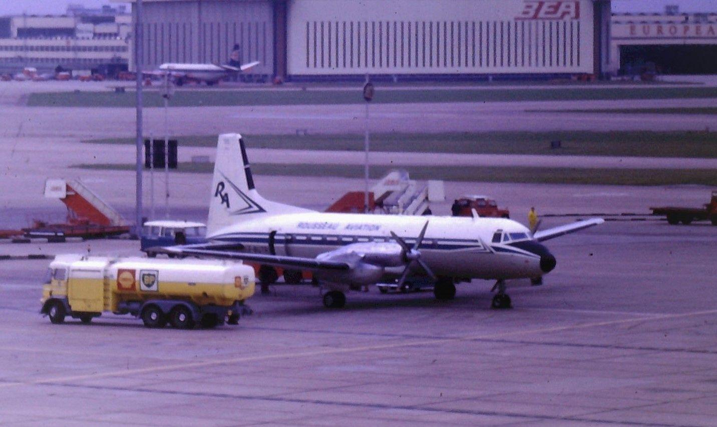 Rousseau Aviation HS748 FBUTR at Heathrow 1973 Aviation