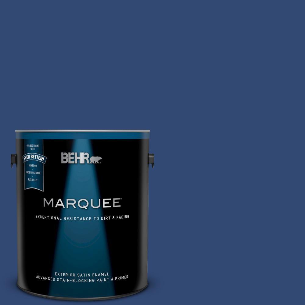 Behr Marquee 1 Gal S H 580 Navy Blue Satin Enamel Exterior Paint