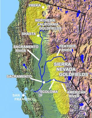 Map Of California Gold Country.California Gold Rush Relief Map California Gold Country Gold