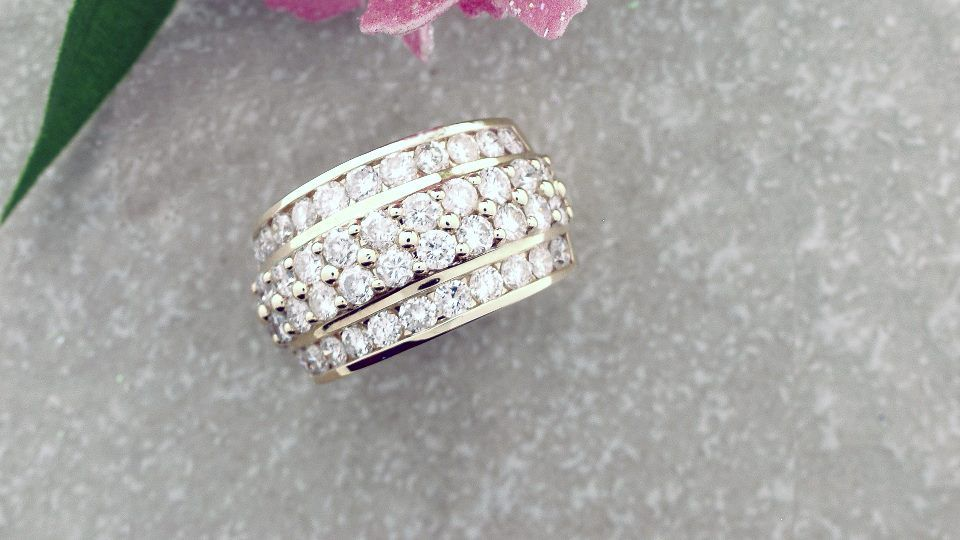 Custom Design: Is it a beautiful ring?...or is it a former tennis bracelet?  Only the jeweler knows for sure.