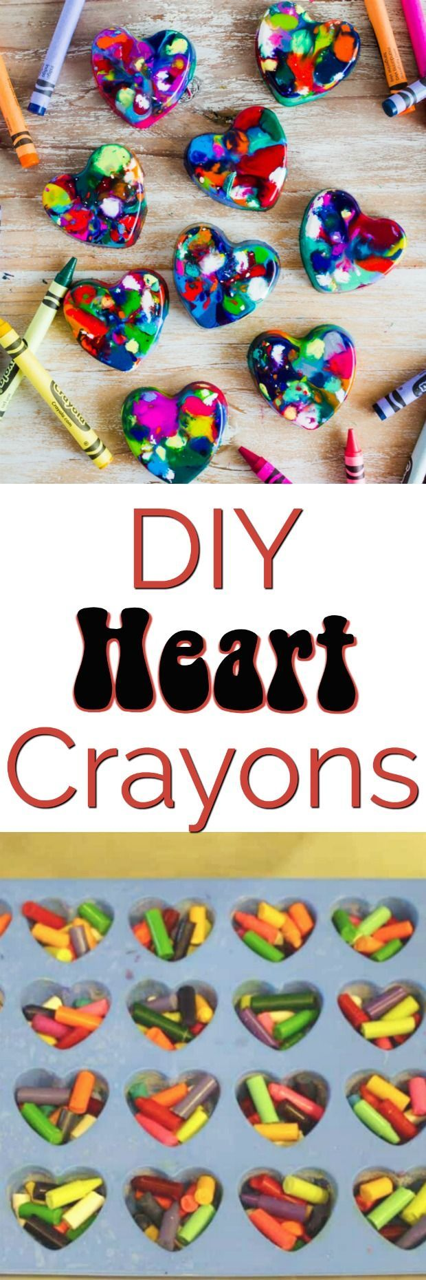 DIY Heart Crayons - the perfect homemade Valentine's Day project and gift to hand out at your child's classroom party  #valentinediy #noncandygift #partygift #crayon #easydiy #valentinesdaygiftideas