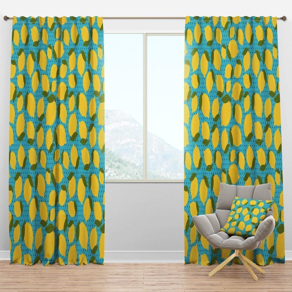 Designart Lemon Pattern Tropical Curtain Panels 52 In Wide X