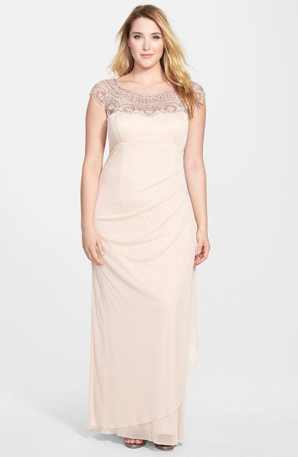 Beaded Yoke Mesh Gown (Plus Size) | plus size dresses | Dresses ...