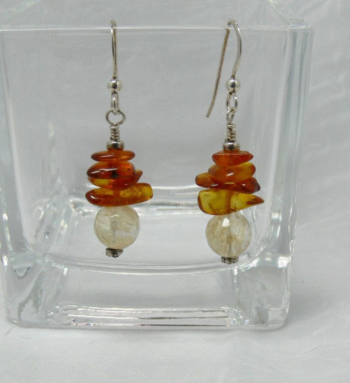 Warm Colors, Handmade Earrings with Amber Chips, Faceted Citrine, Organic Look, Sterling Silver Ear Wires, 1 3/4 Inch Drop, Office Wear by ElysiumUniqueJewelry on Etsy
