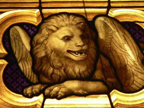 Symbol Of St Mark The Evangelist In A Modern Stained Glass Window