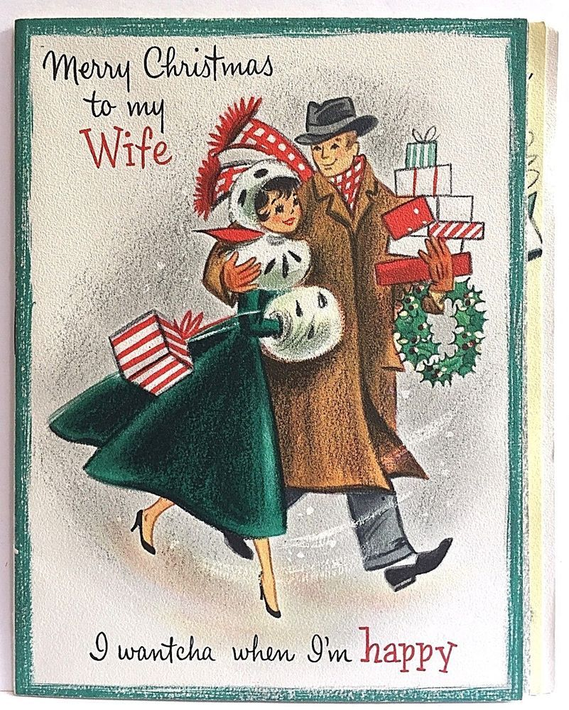 Vintage To Wife Christmas Card Hallmark Booklet Couple Shopping ...