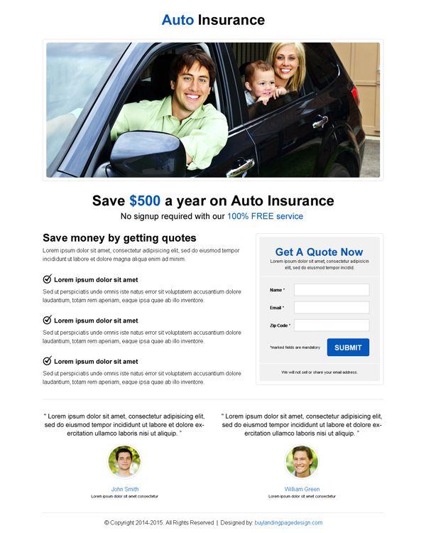 Auto Insurance Minimalist Landing Page To Capture Leads Landing