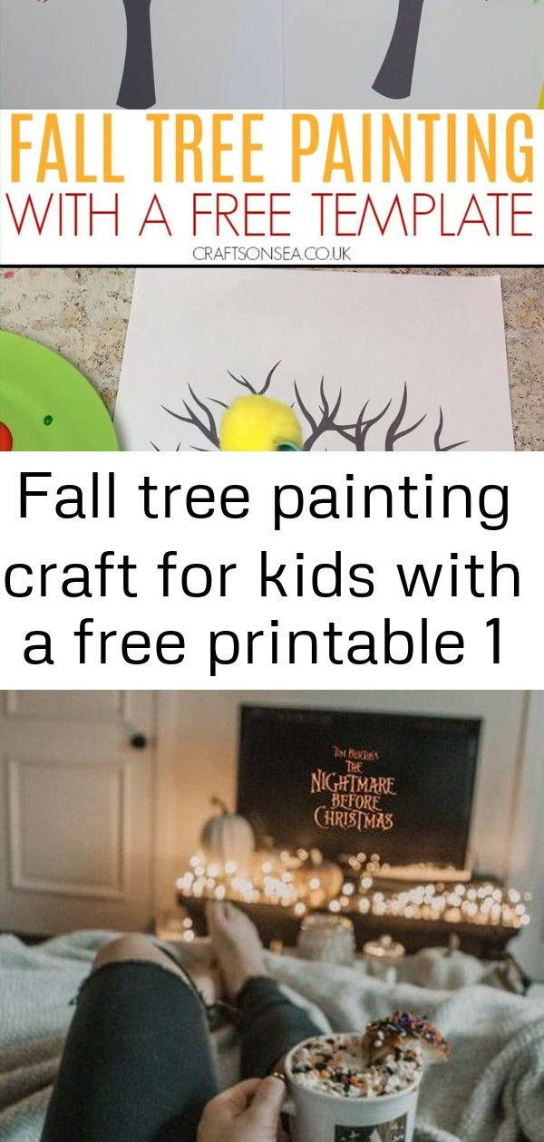 Fall tree painting craft for kids with a free printable 1 #autumnalequinox