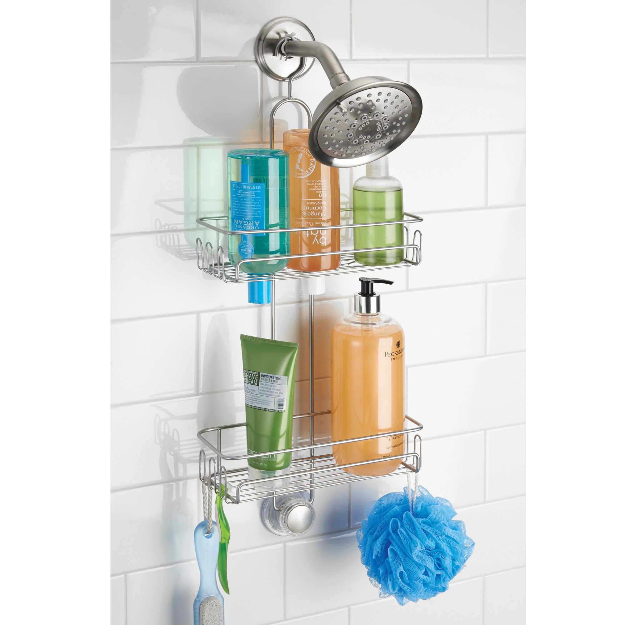 InterDesign® Turn-N-Lock 2-Tier Hanging Shower Caddy in Silver ...