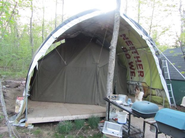 DIY Greenhouse/Tent combo structure- cheap to build- And strong enough to withstand & Live in a Greenhouse | Diy greenhouse and Tents
