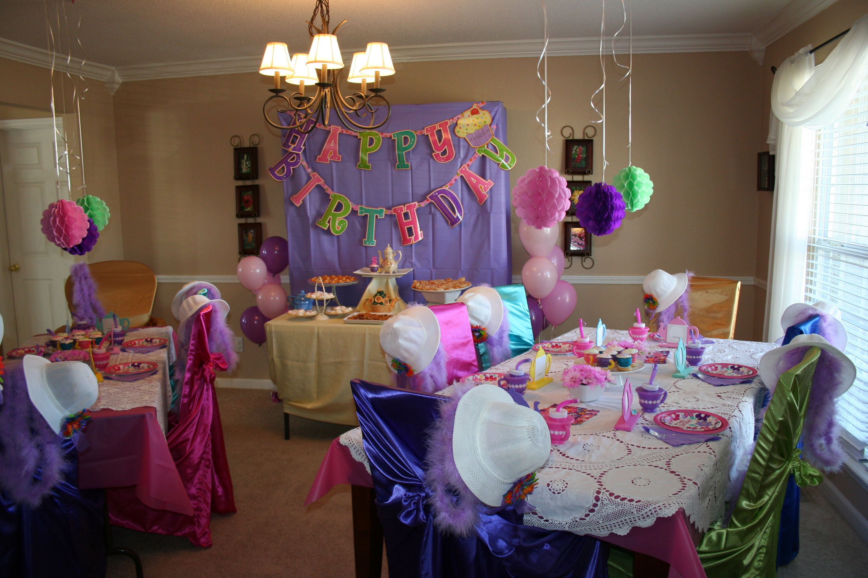 My Girl S 5th Birthday Party Tea Time My First Attempt At A Real Theme Party At Home For My Daughter Girls Birthday Party Birthday Birthday Parties