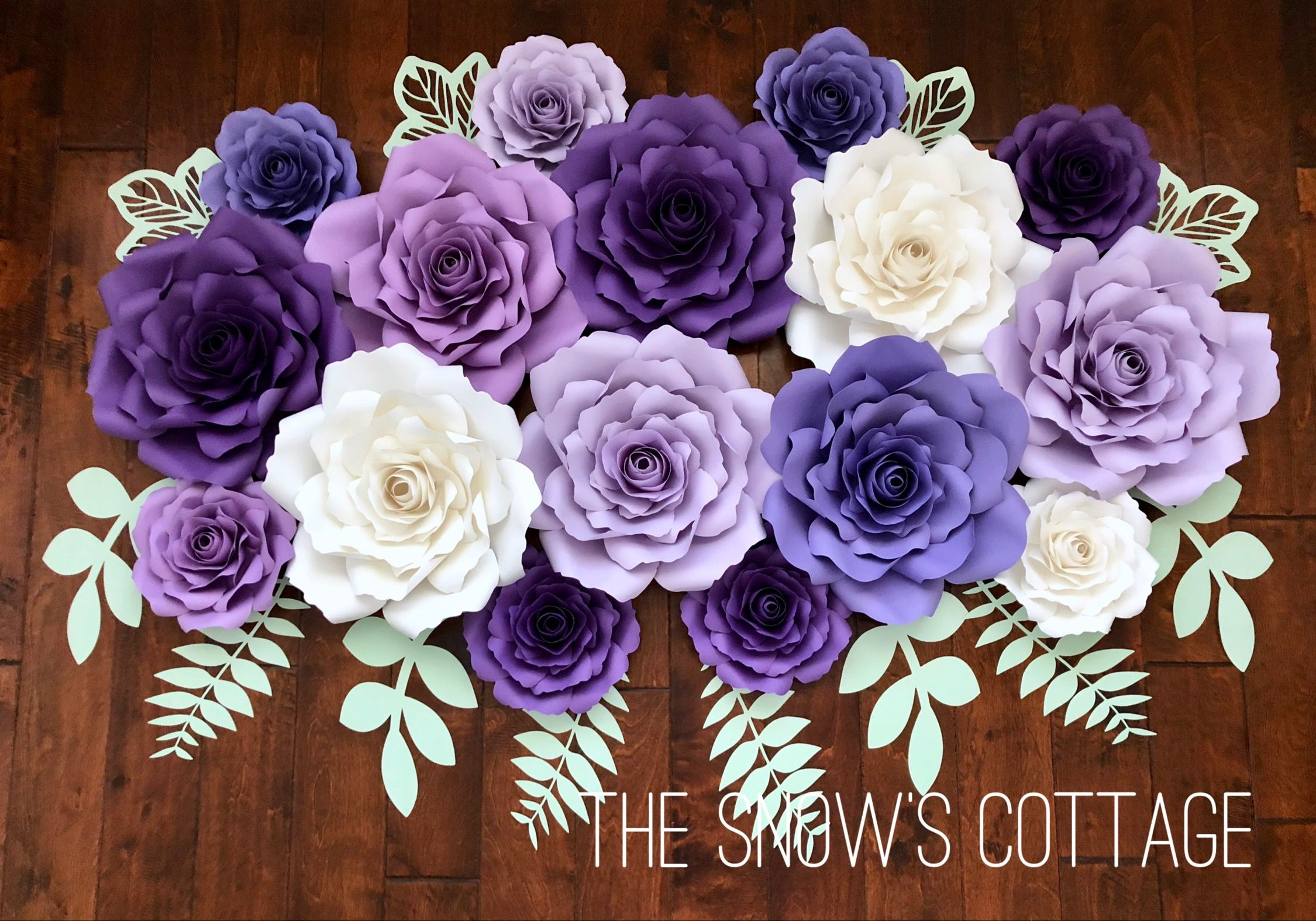 Purple and mint paper flower wedding backdrop thesnowscottage