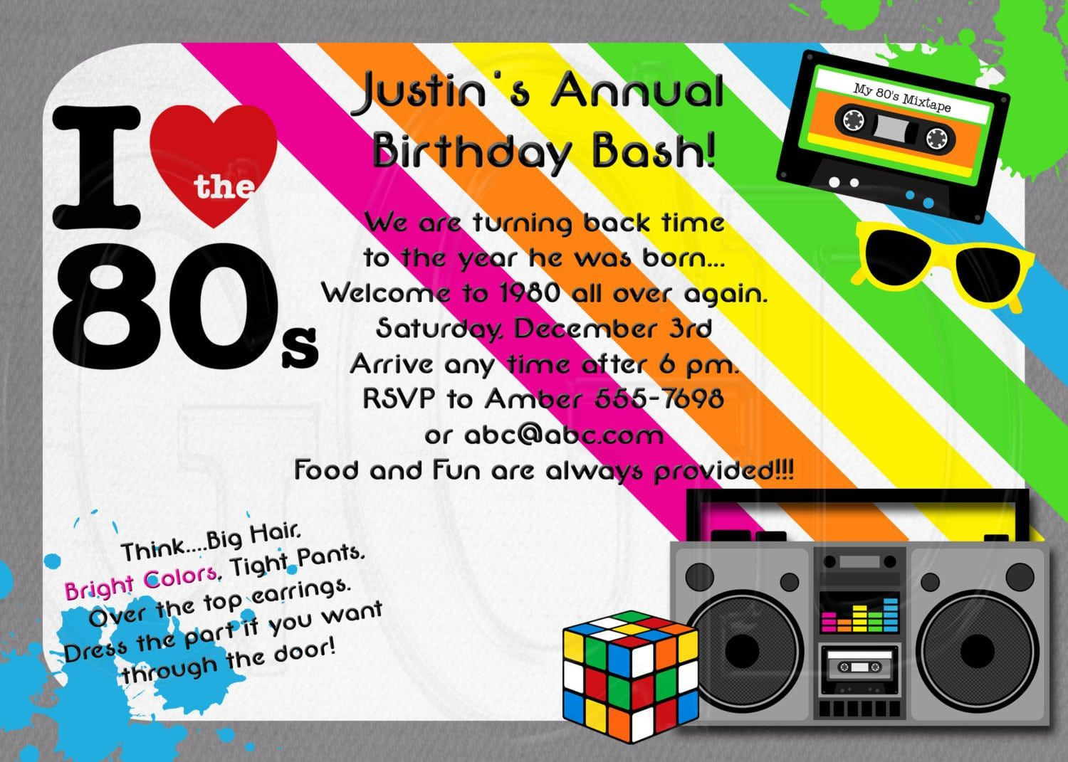80s Theme Party Invitation Wording Party Invitation Cakes And