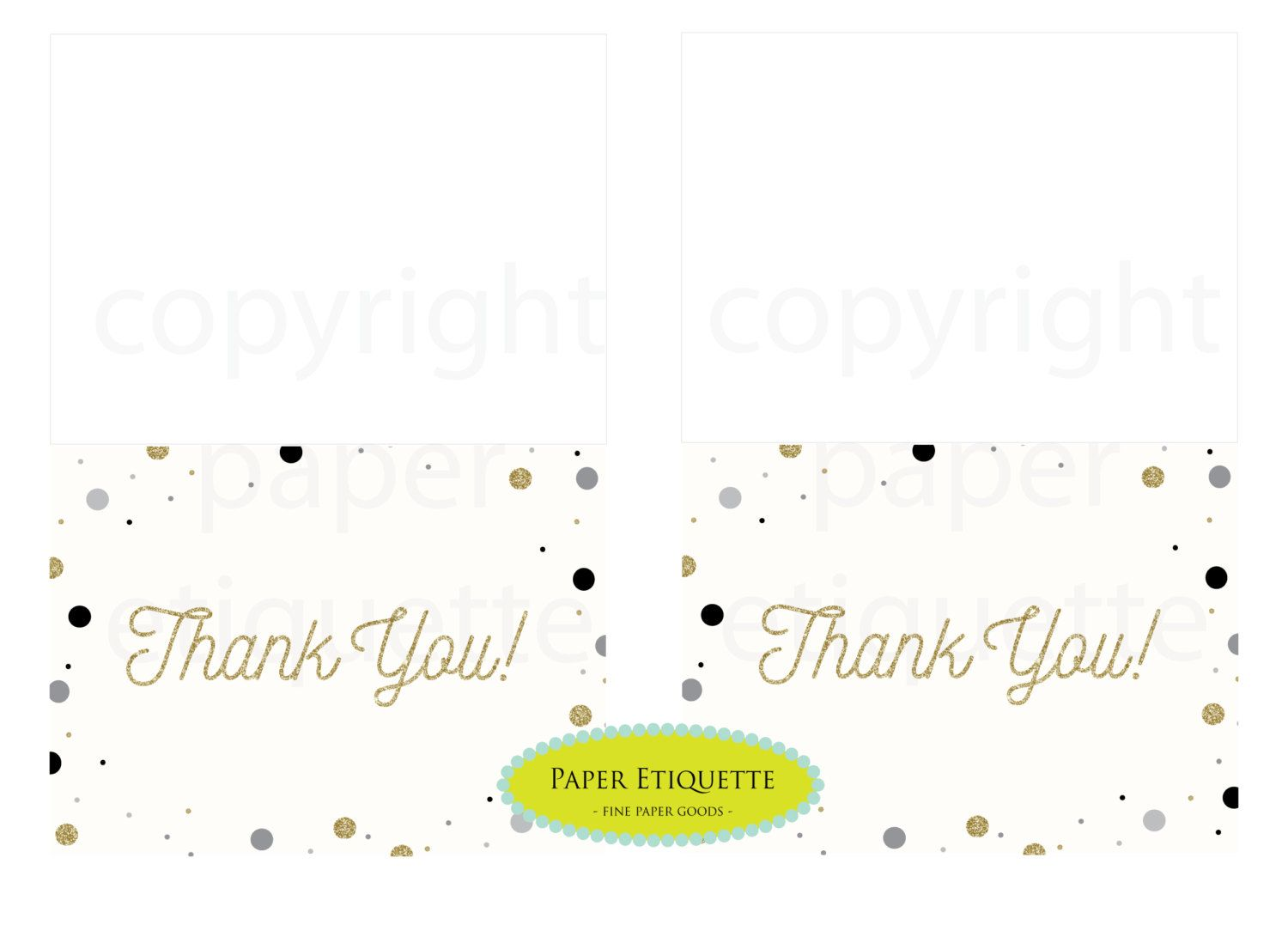 instant upload gold confetti thank you cards print your own