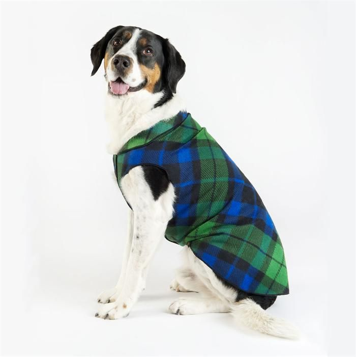 Red or Black Watch Plaid Fleece Dog Jacket. Year round pull over jacket made from recycled polyester and a touch of spandex. It's very easy to put on and moves with your dog.  Range of sizes to fit a chihuahua puppy - Great Dane.
