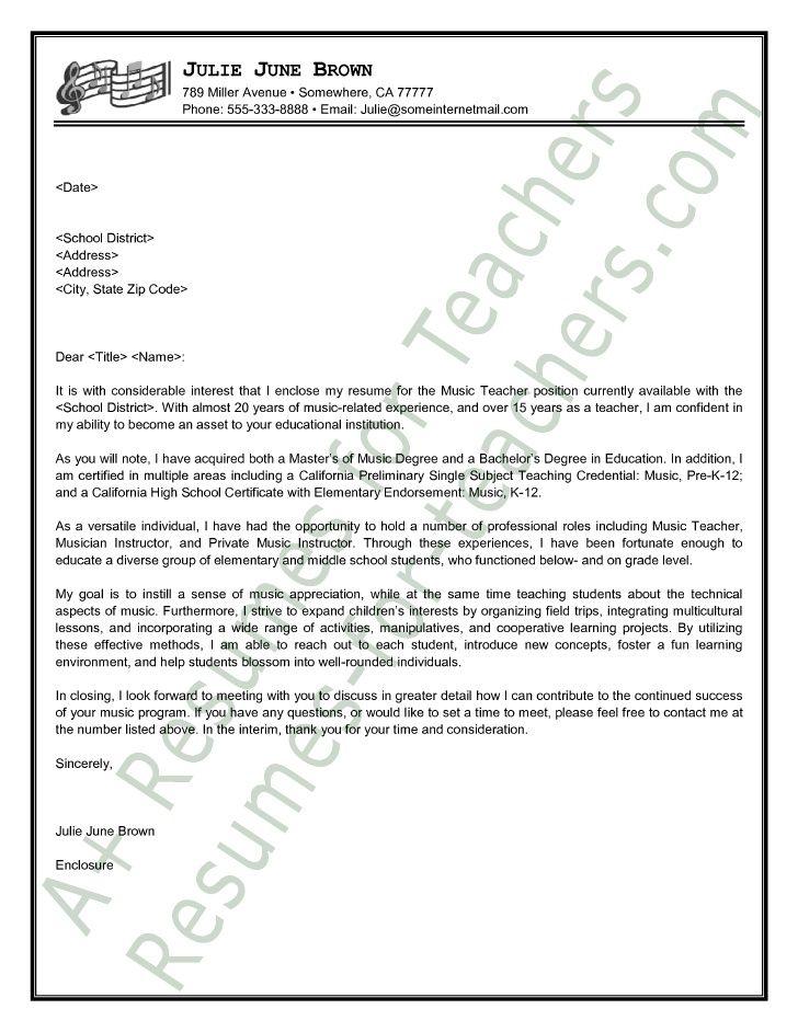 Music Teacher Resume sample music teacher cover letter professional references sample example