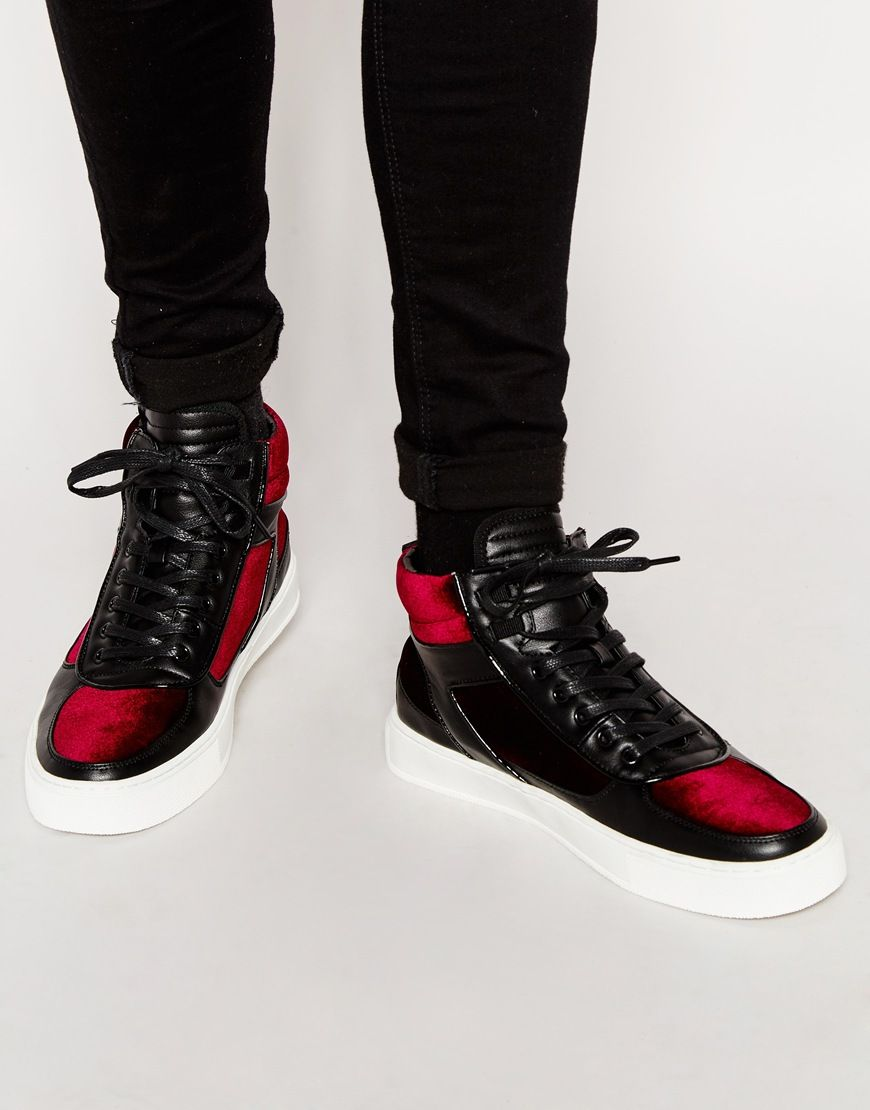 Image 1 of ASOS High Top Trainers in Black With Burgundy Velvet