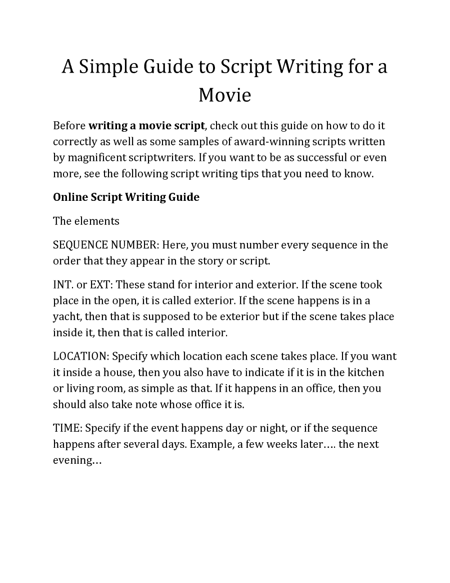 Simple Guide To Script Writing Writing A Movie Script Script Writing Script