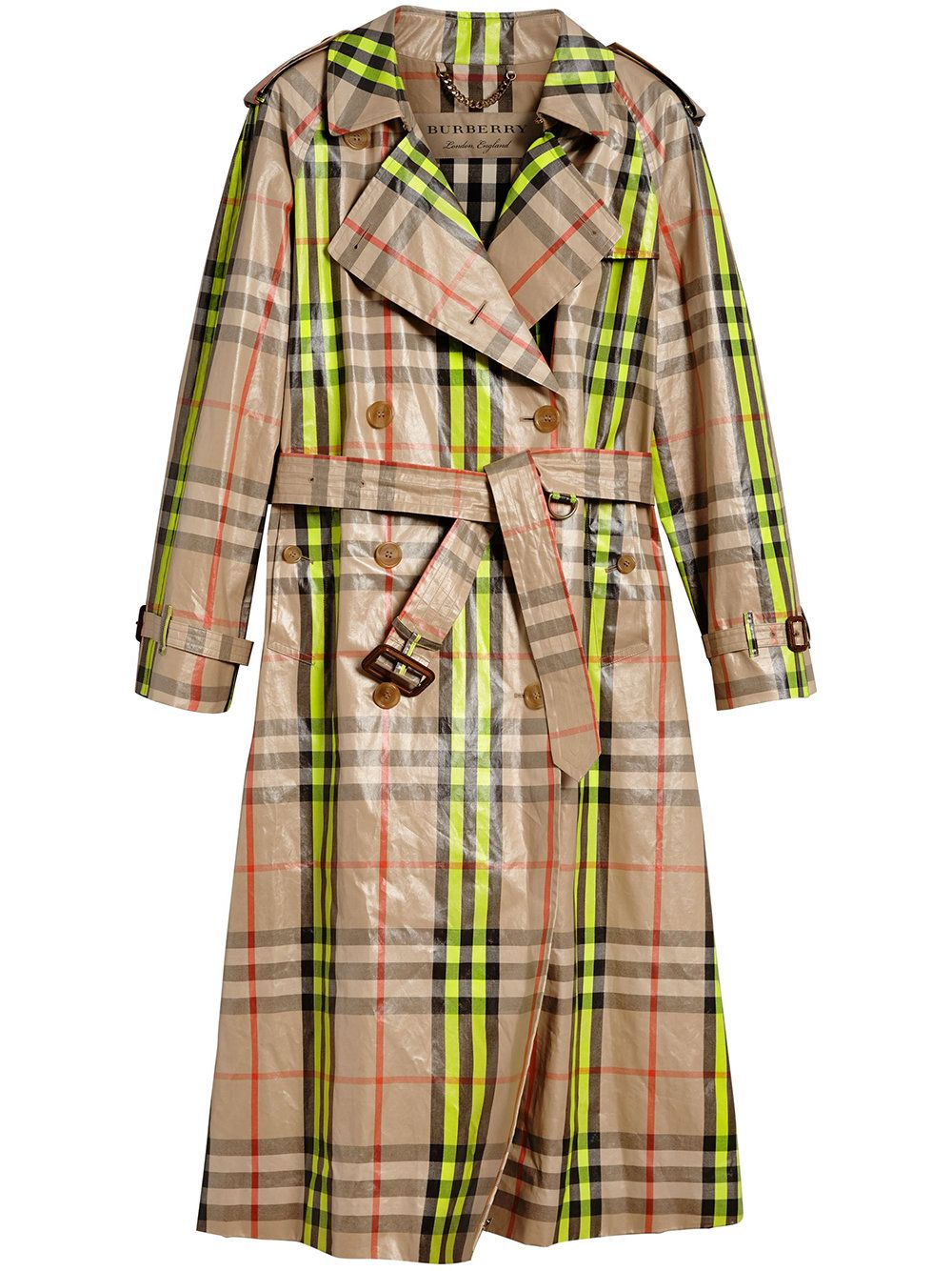 af5f0340cabea0 Burberry Laminated Check Trench Coat – Online Exclusive | chartreuse ...