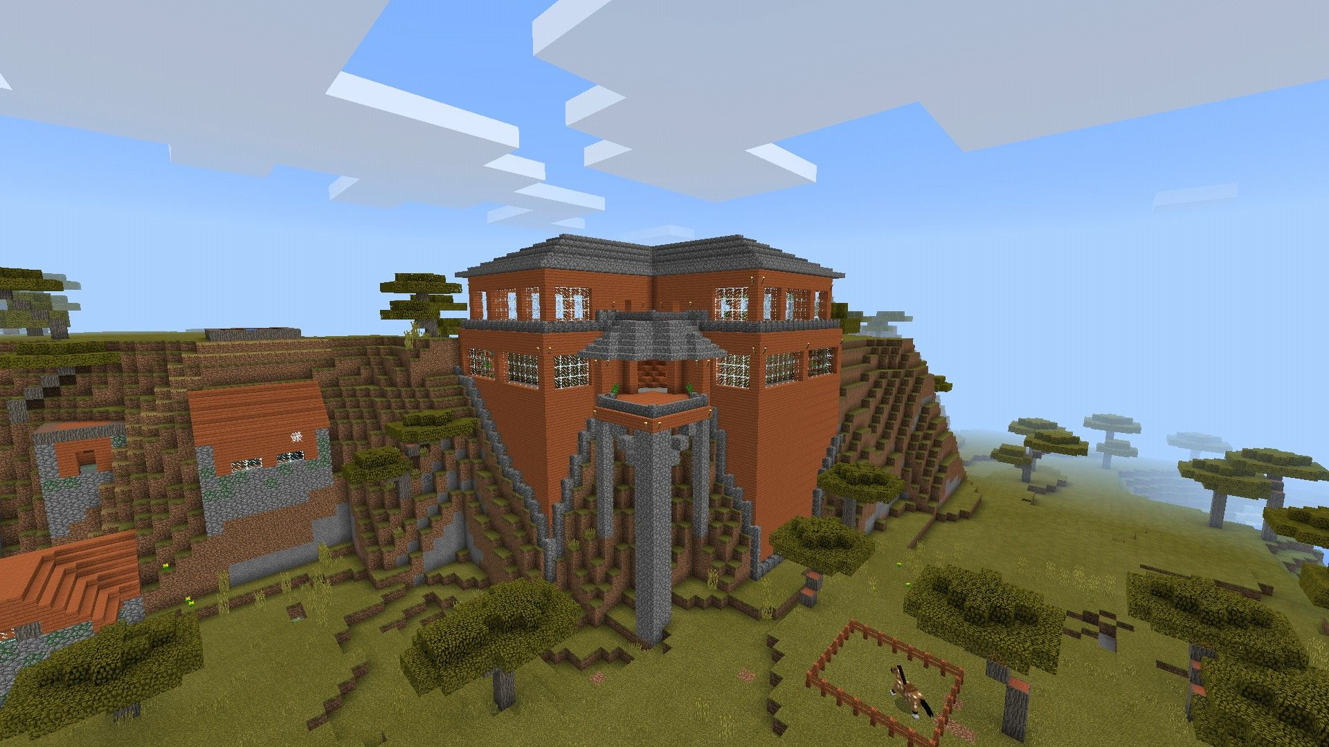 Minecraft mountainside mansion built beside an abandoned acacia village on mcpe seed is jfgh