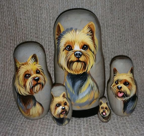 Yorkshire Terrier on Five Russian Nesting by RussianTraditions