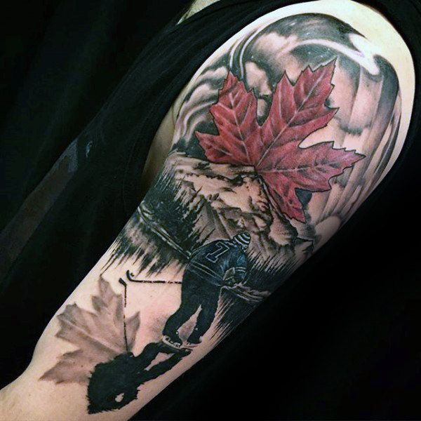Maple Leaf Mens Hockey Player On Ice Guys Arm Tattoos Full Sleeve Tattoos Hockey Tattoo Tattoos For Guys