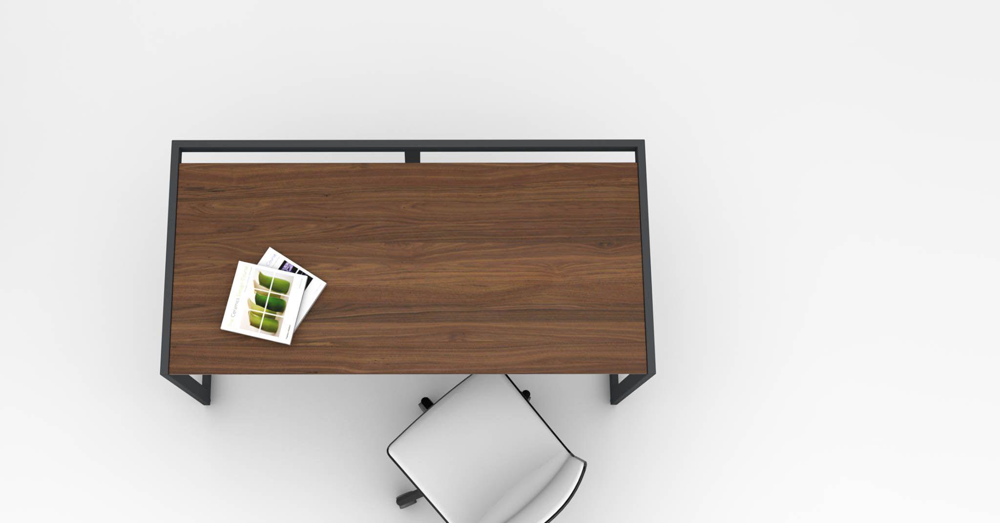 Mandeville Desk In Walnut And Black Painted Steel With The Tweet Desk Chair Desk Desk Chair Wood Veneer