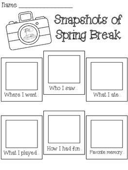 Snapshots Of Spring Break Writing Activity Language Arts Writing