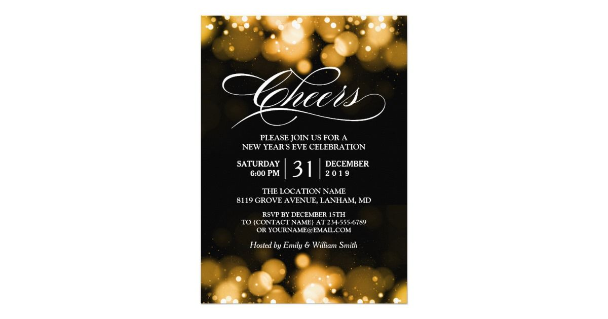 party invitations after wedding%0A Gold Bokeh Sparkles Cheers New Year u    s Eve Party Card